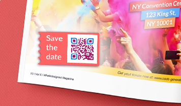 save the date frame for event QR Code in magazine