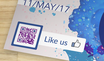 like us frame for facebook QR Code on flyer