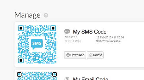 SMS Codes, receive SMS messages using QR Codes