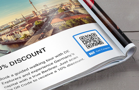 Great QR Code With Get Coupon Frame In Magazine Ad For Discount Tours