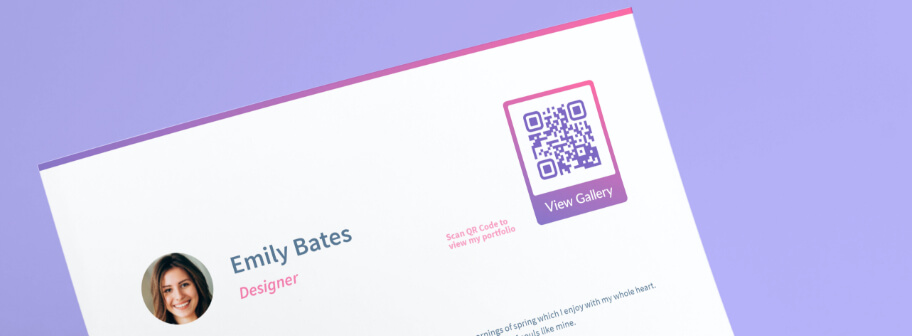 QR Code idea on a resume to promote portfolio